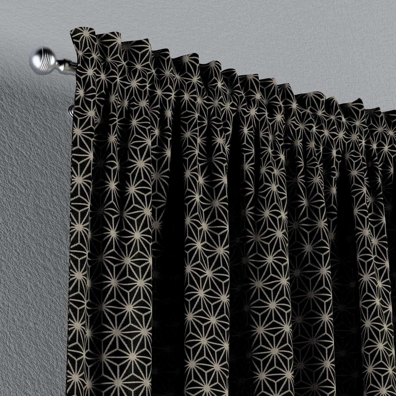 Závěs s tunýlkem a volánkem  v kolekci Black & White, látka: 142-56