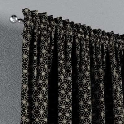 Vorhang mit Tunnel und Köpfchen von der Kollektion Black & White, Stoff: 142-56