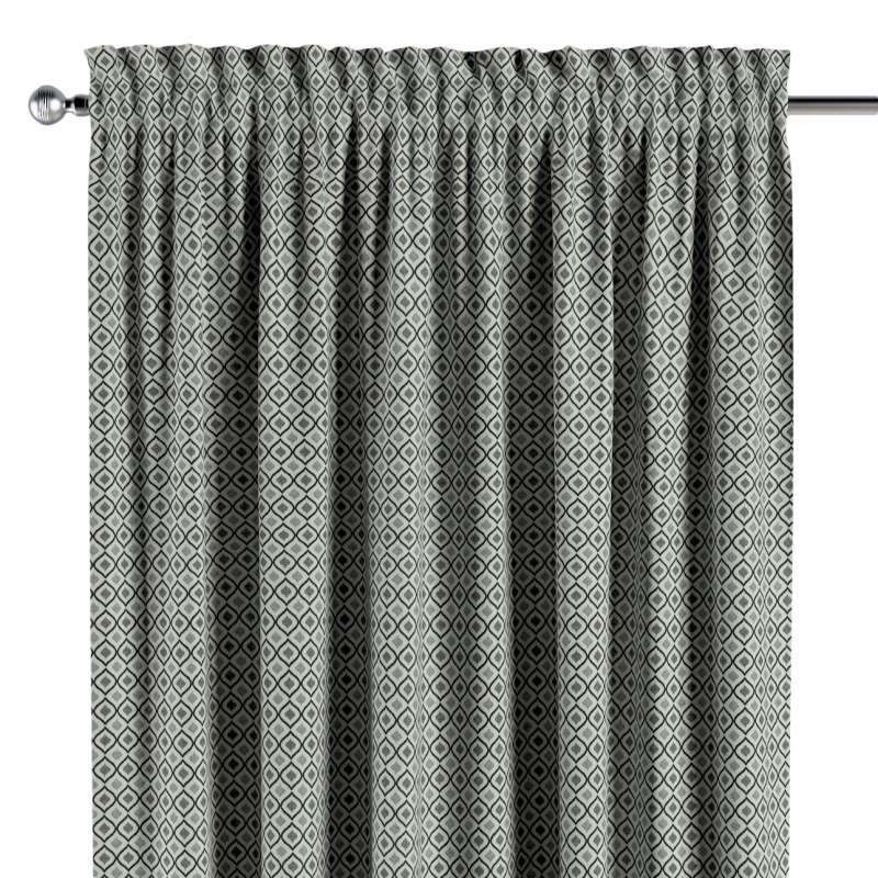 Vorhang mit Tunnel und Köpfchen von der Kollektion Black & White, Stoff: 142-76