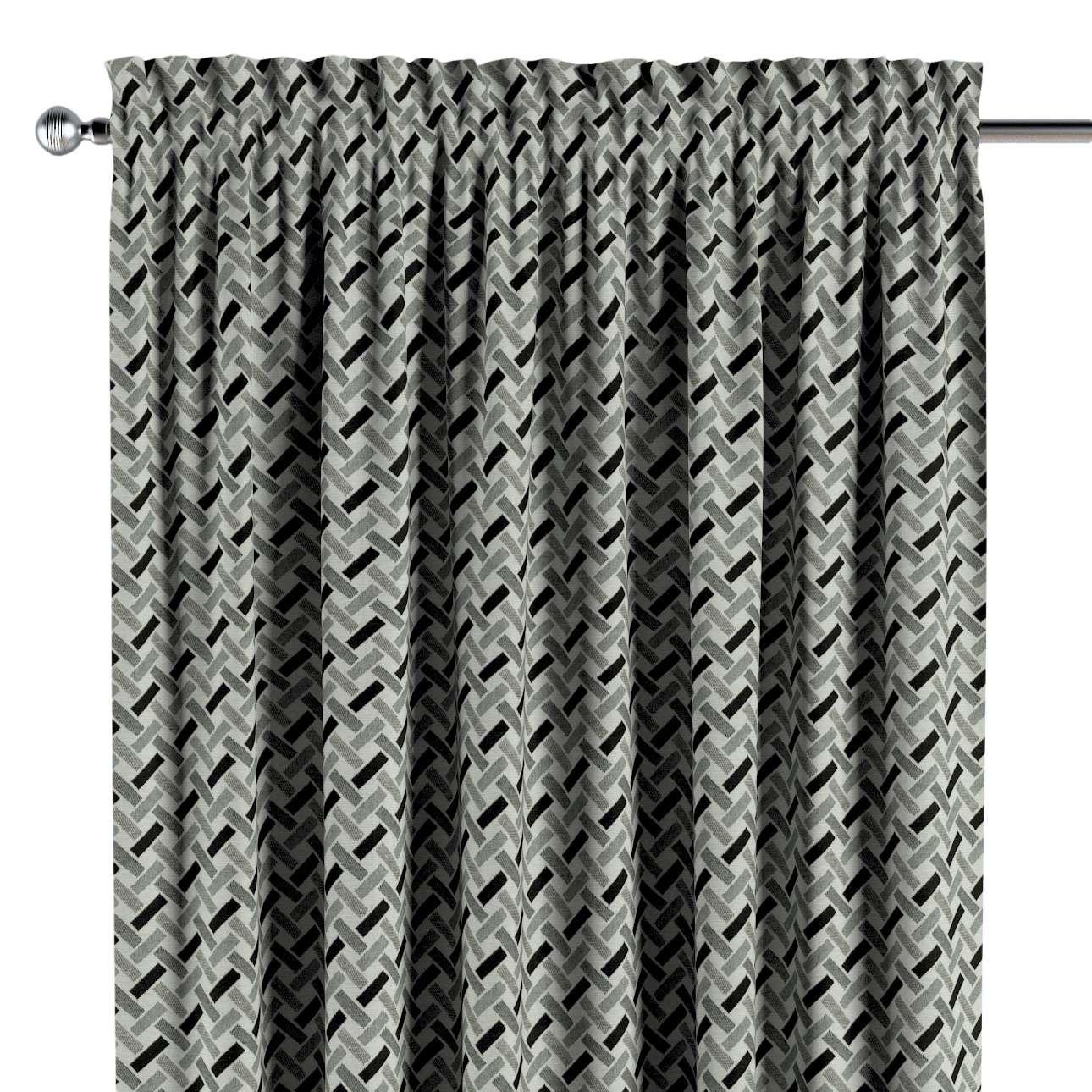 Zasłona na kanale z grzywką 1 szt. w kolekcji Black & White, tkanina: 142-78