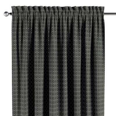 Vorhang mit Tunnel und Köpfchen von der Kollektion Black & White, Stoff: 142-86