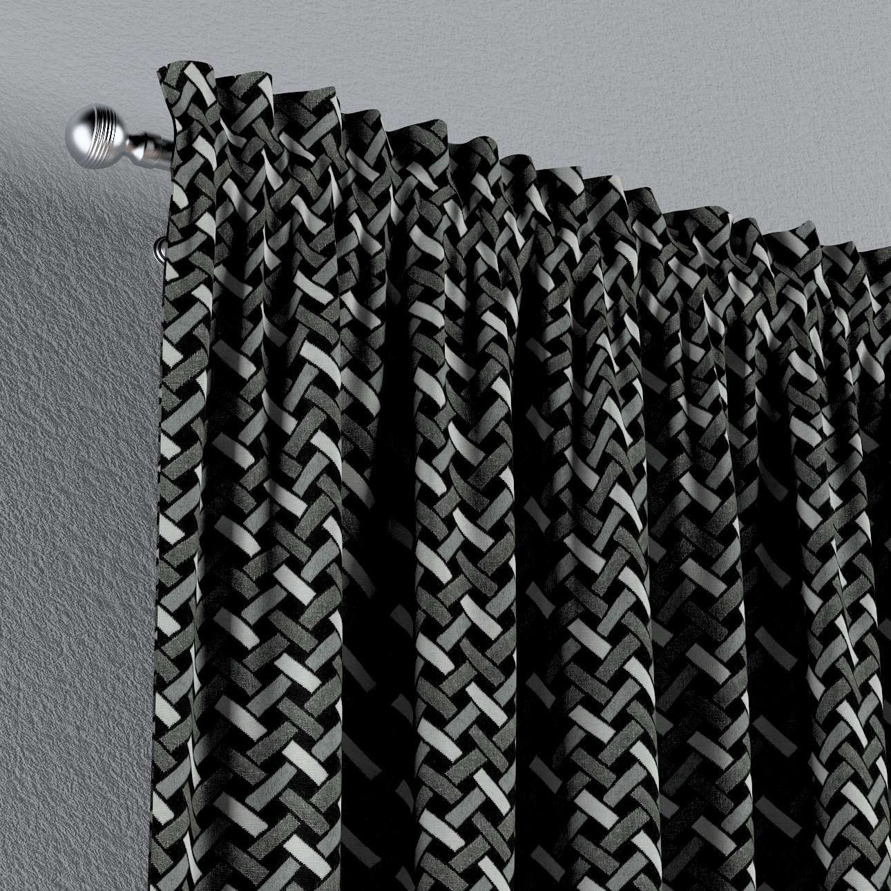 Závěs s tunýlkem a volánkem  v kolekci Black & White, látka: 142-87