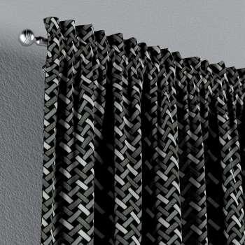 Vorhang mit Tunnel und Köpfchen von der Kollektion Black & White, Stoff: 142-87