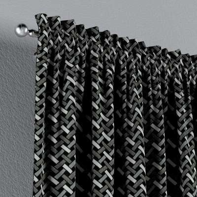 Zasłona na kanale z grzywką 1 szt. w kolekcji Black & White, tkanina: 142-87