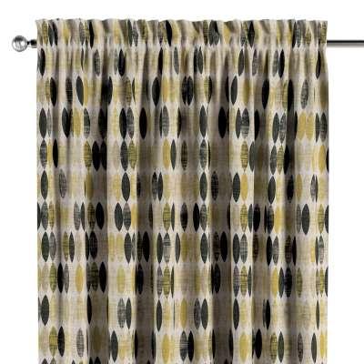 Vorhang mit Tunnel und Köpfchen 142-99 schwarz-beige-gelb Kollektion Modern