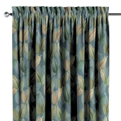 Závěs s tunýlkem a volánkem 143-20 zeleno-béžové listy na zeleno-modrém podkladuzielone, beżowe liście na niebiesko-zielonym tle Kolekce Abigail