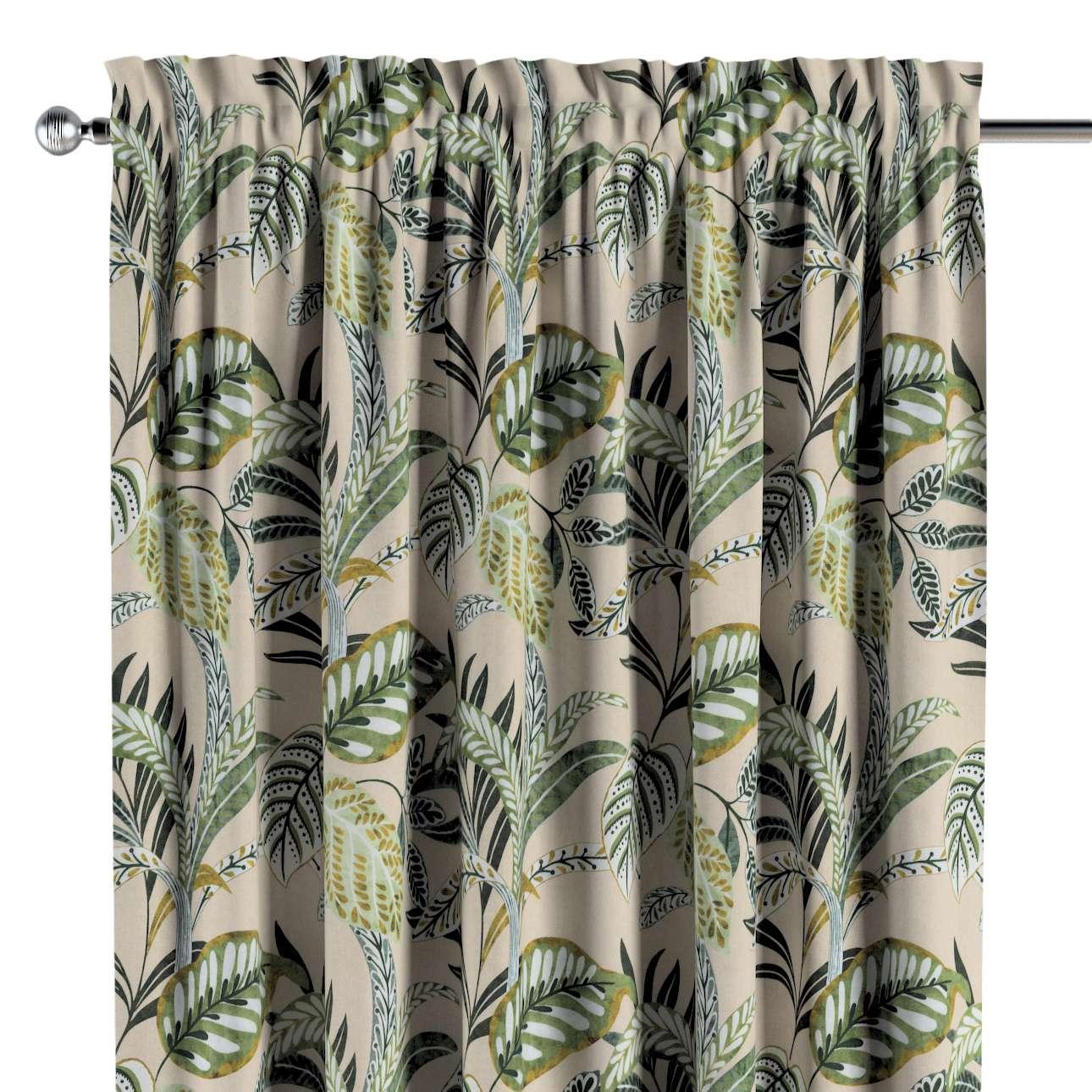 Zasłona na kanale z grzywką 1 szt. w kolekcji Tropical Island, tkanina: 142-96