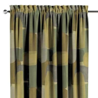 Zasłona na kanale z grzywką 1 szt. 143-72 geometryczne wzory w zielono-brązowej kolorystyce Kolekcja Vintage 70's