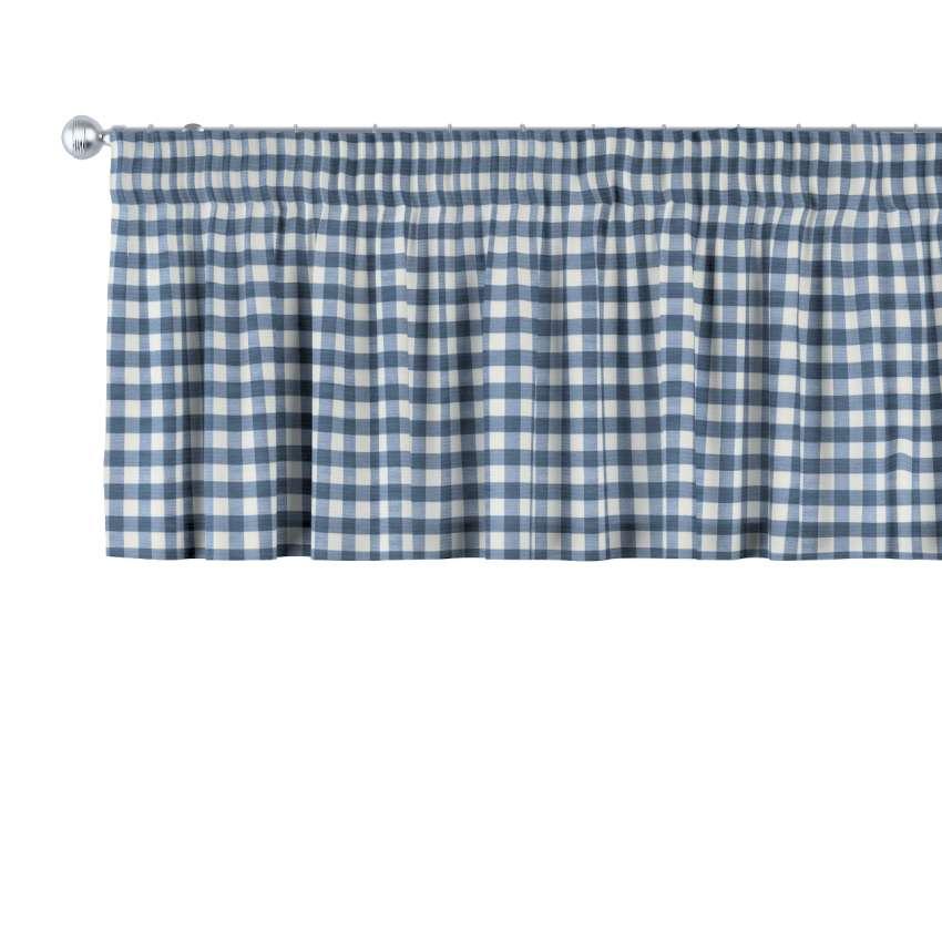 kurzgardine mit kr uselband marinenblau ecru 130 x 40 cm dekoria. Black Bedroom Furniture Sets. Home Design Ideas