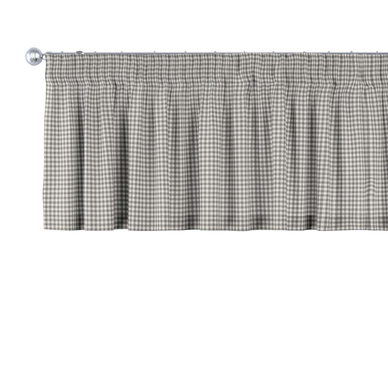Trumpa užuolaidėlė (lambrekenas) pieštukinis klostavimas 130 x 40 cm kolekcijoje Quadro, audinys: 136-10