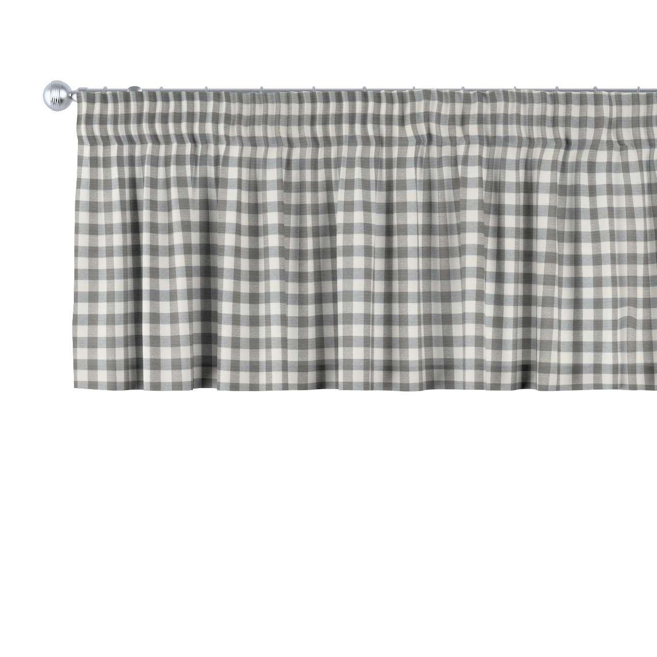 Trumpa užuolaidėlė (lambrekenas) pieštukinis klostavimas 130 x 40 cm kolekcijoje Quadro, audinys: 136-11