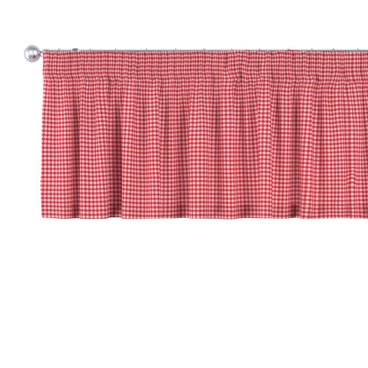 Kurzgardine mit Kräuselband, rot-ecru , 130 × 40 cm, Quadro