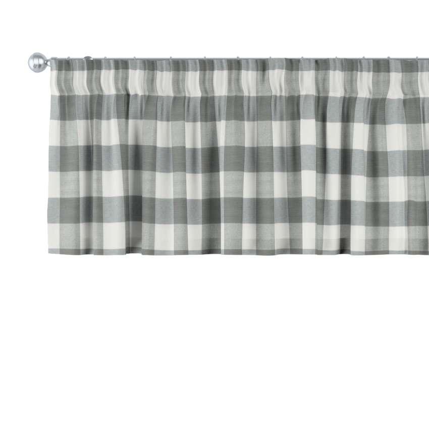 kurzgardine mit kr uselband weiss grau kariert 130 x 40 cm dekoria. Black Bedroom Furniture Sets. Home Design Ideas