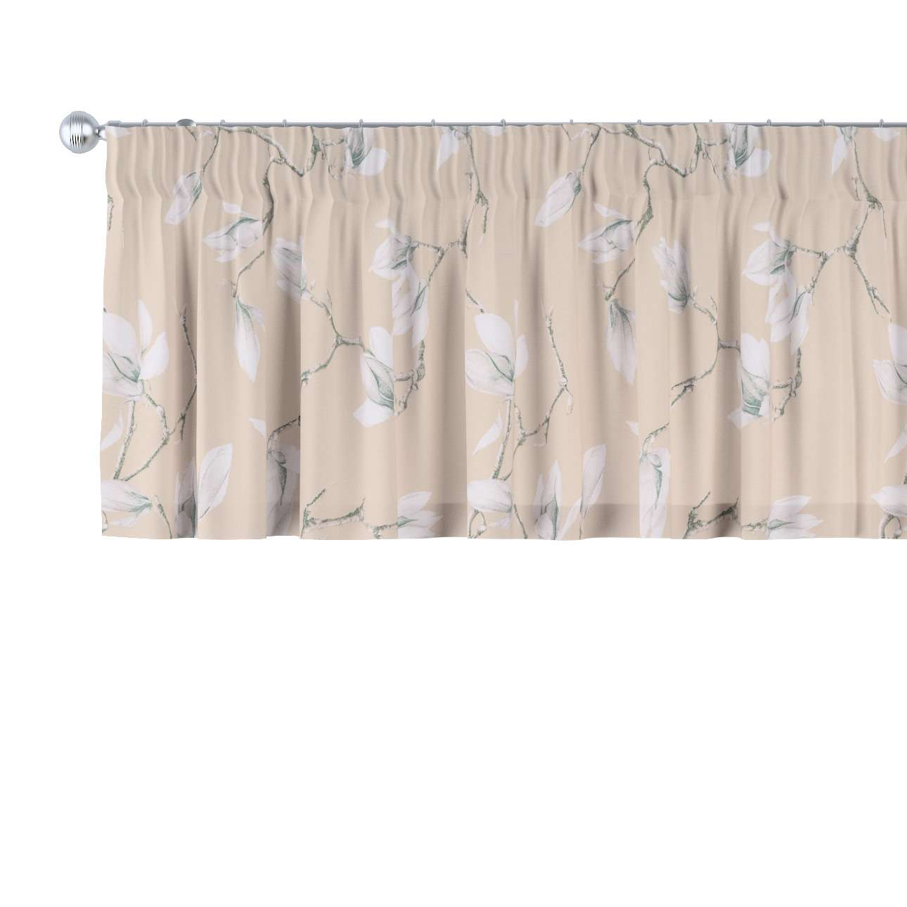Gardinkappe med rynkebånd fra kollektionen Flowers, Stof: 311-12