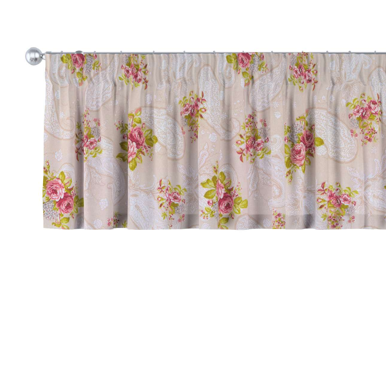 Pencil pleat pelmet 130 × 40 cm (51 × 16 inch) in collection Flowers, fabric: 311-15