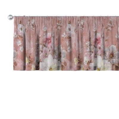 Krátky záves na riasiacej páske 137-83 krémove a ružové kvety na tmavo ružovom podklade Kolekcia Flowers