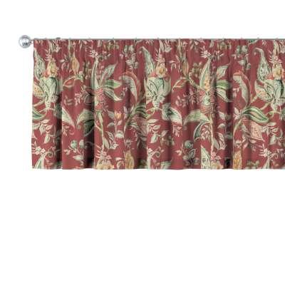Lambrekin na taśmie marszczącej 142-12 wzory roślinne i kwiatowe na czerwono-ceglanym tle Kolekcja Gardenia