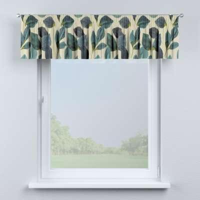 Krátky záves na riasiacej páske 143-15 smaragdovo - zelené listy s fialovým nádychom na plátne Kolekcia Abigail