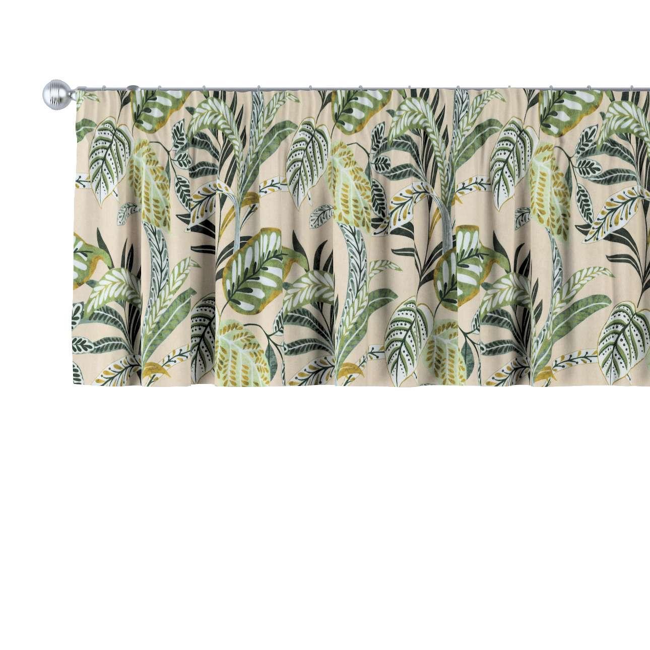 Krátky záves na riasiacej páske V kolekcii Tropical Island, tkanina: 142-96