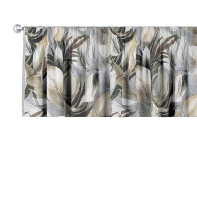Krátky záves na riasiacej páske 143-60 šedo - béžové listy Kolekcia Abigail