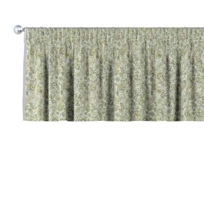 Lambrekin na řasící pásce 143-68 zelené a oranžové vzory na béžovém pozadí Kolekce Flowers