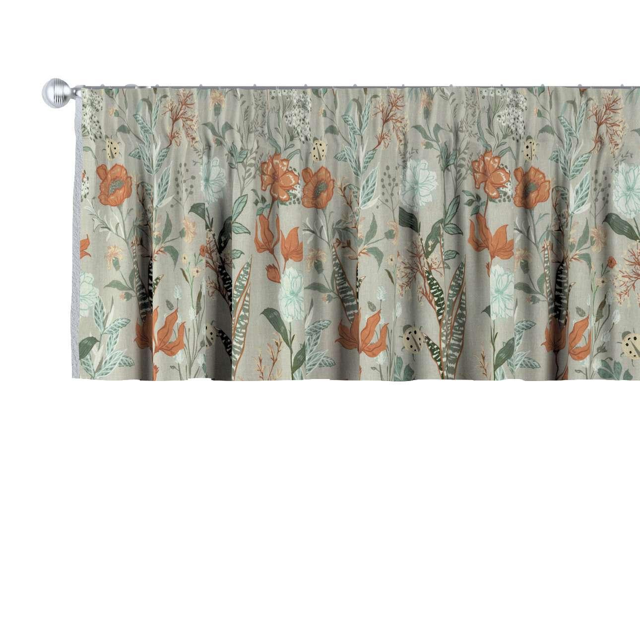 Lambrekin na taśmie marszczącej w kolekcji Flowers, tkanina: 143-70