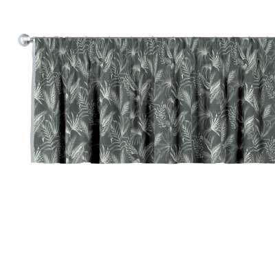 Pencil pleat pelmet 143-73 leaves on a black background Collection Flowers