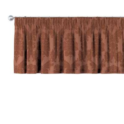 Drapéria 613-88 barna fényes ornamentális díszítés barna háttérrel Méteráru Damasco Lakástextil