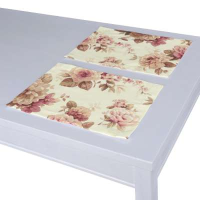 Placemat (set of 2) 141-06 burgundy and beige roses, ivory background Collection Londres