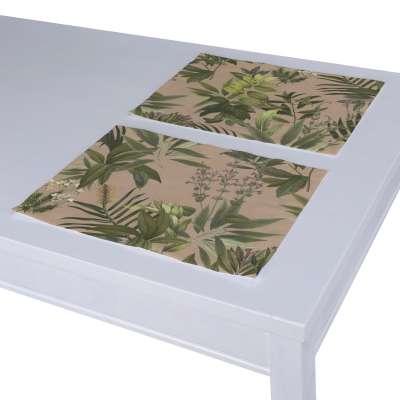 Podkładka 2 sztuki 143-71 zielona roślinność na brudnoróżowym tle Kolekcja Tropical Island