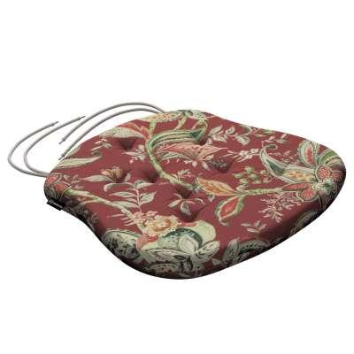 Siedzisko Filip na krzesło 142-12 wzory roślinne i kwiatowe na czerwono-ceglanym tle Kolekcja Gardenia