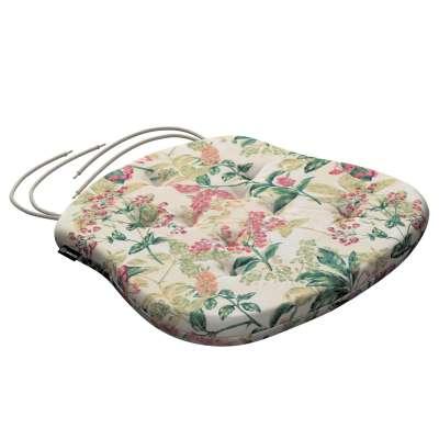 Siedzisko Filip na krzesło 143-41 różowo-beżowe rośliny na tle ecru Kolekcja Londres
