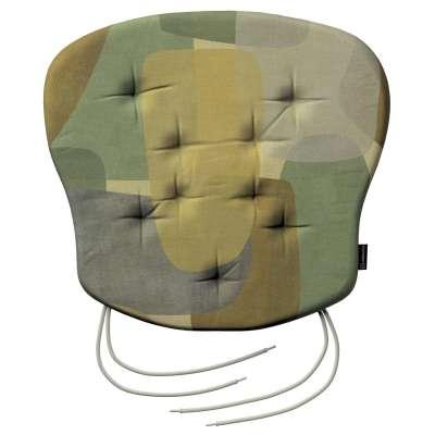 Siedzisko Filip na krzesło 143-72 geometryczne wzory w zielono-brązowej kolorystyce Kolekcja Vintage 70's