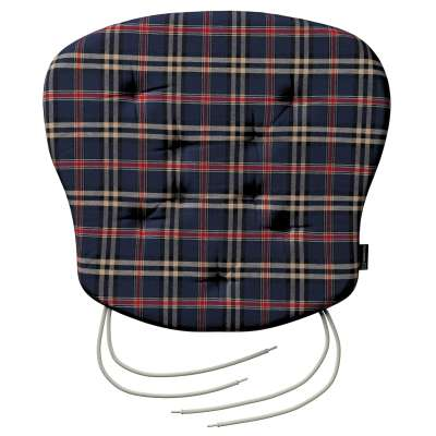 Philip seat pad with ties 142-68 dark blue and red check Collection Christmas