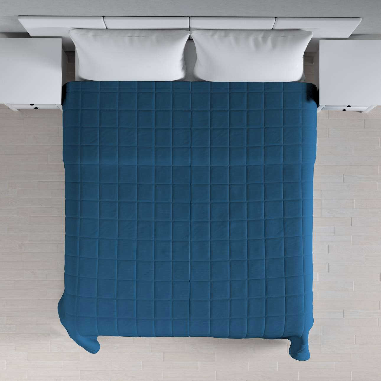 Sengeteppe quiltet<br/>10x10cm firkanter fra kolleksjonen Cotton Panama, Stoffets bredde: 702-30