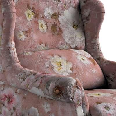 Kreslo čalúnené, ručne vyrábané 137-83 krémove a ružové kvety na tmavo ružovom podklade Kolekcia Flowers
