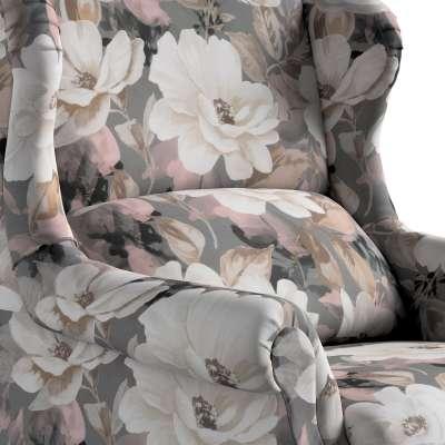 Kreslo čalúnené, ručne vyrábané 142-13 svetlé kvety na sivom podklade so svetlo ružovou a béžovou Kolekcia Gardenia