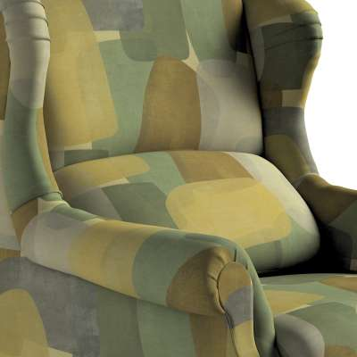 Fotel Unique 143-72 geometryczne wzory w zielono-brązowej kolorystyce Kolekcja Vintage 70's
