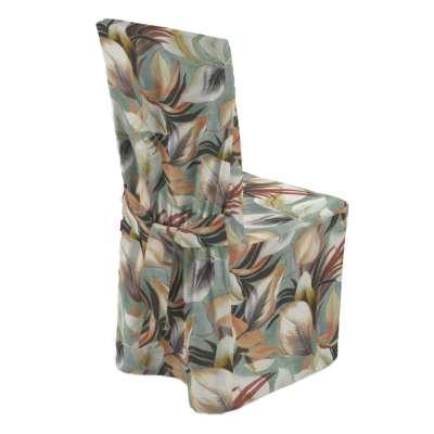 Sukienka na krzesło 143-61 pomarańczowo-bordowo-zółte liście na miętowym tle Kolekcja Abigail