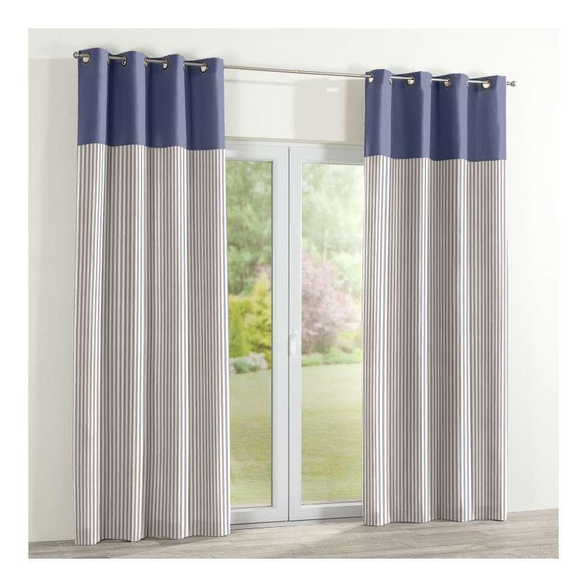 vorhang duo mit sen marinenblau ecru 1 stck 130x260cm. Black Bedroom Furniture Sets. Home Design Ideas