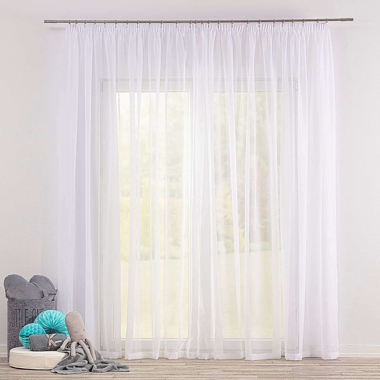 Pencil pleat voile/net curtain in collection Soft Veil, fabric: 900-00