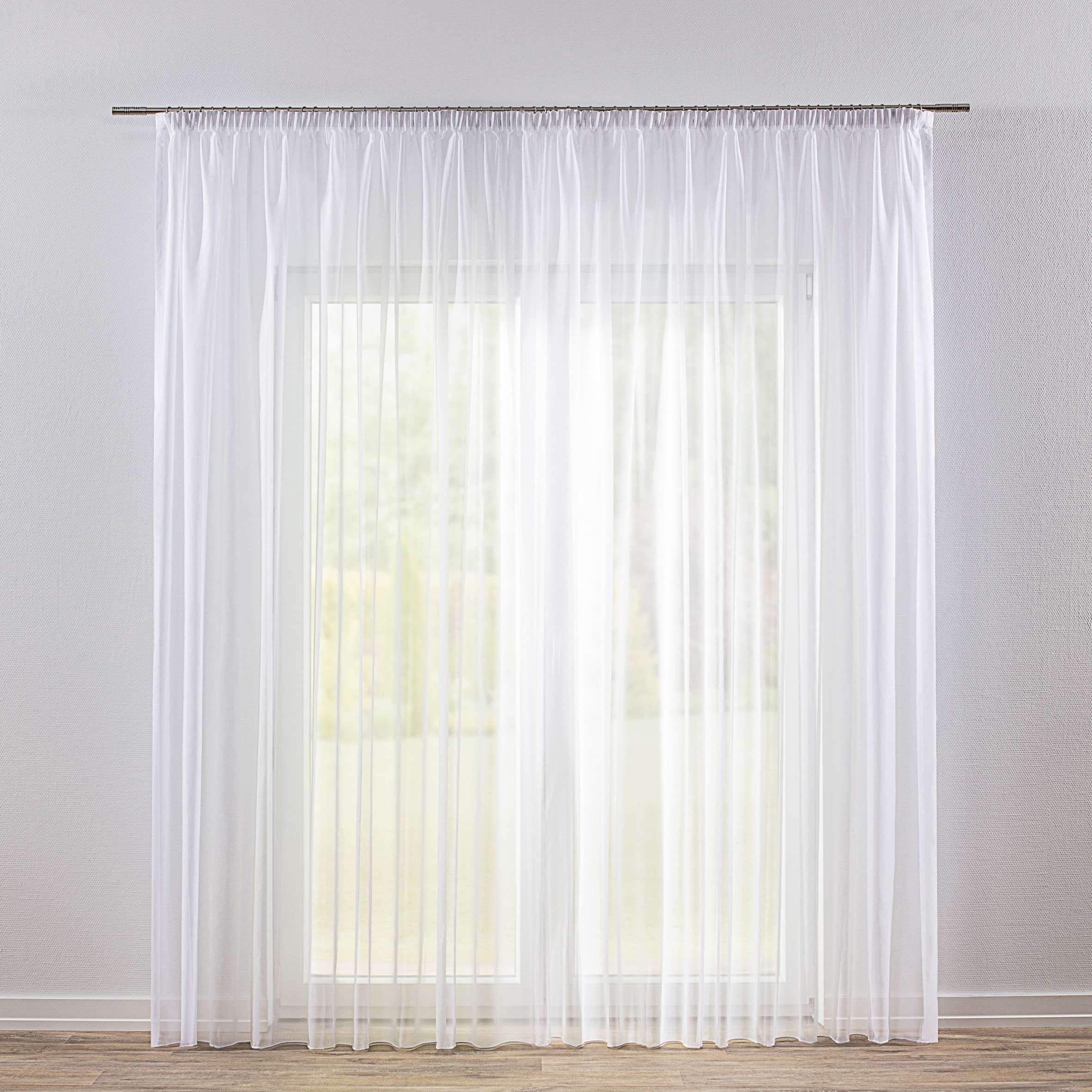 Pencil pleat voile/net curtain 130 × 250 cm (51 × 98,5 inch) in collection Voile, fabric: 901-00
