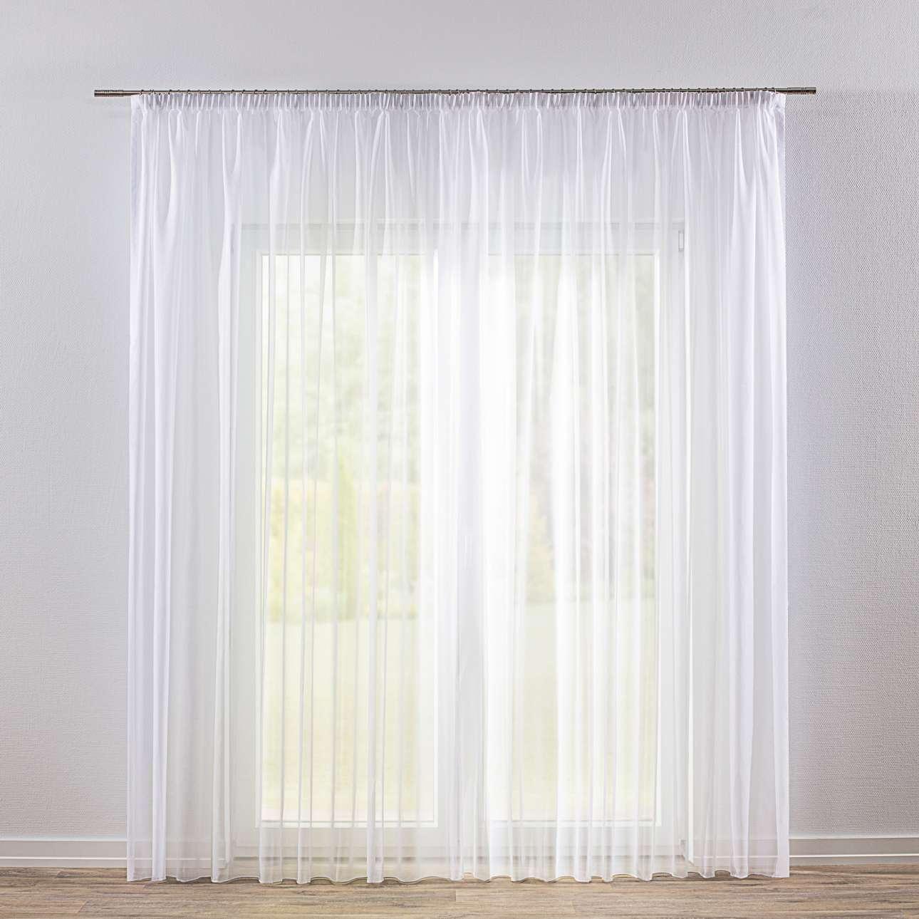Dekoria Záclona voálová jednoduchá s řasící páskou na míru, bílá s našitým olůvkem, 300x260 cm, Voile - Voál, 901-00