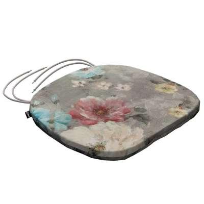 Siedzisko Bartek na krzesło 137-81 niebieskie i różowe kwiaty na szarym tle Kolekcja Flowers