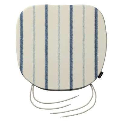 Siedzisko Bartek na krzesło 129-66 ecru tło, niebieskie paski Kolekcja Avinon