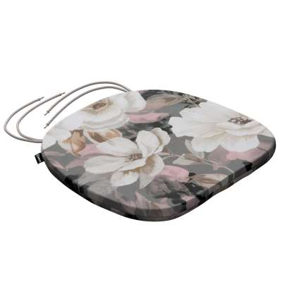 Bart seat pad with ties 142-13 cream and pink floral print on a grey background Collection Gardenia