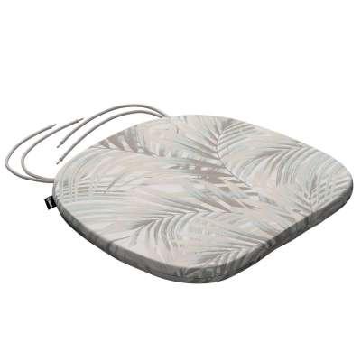 Siedzisko Bartek na krzesło 142-14 beżowo- kremowe liście palmy na białym tle  w  Kolekcja Gardenia