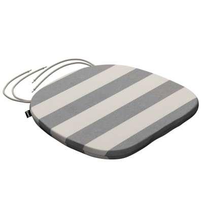 Siedzisko Bartek na krzesło 142-71 biało - szare pasy (5,5cm) Kolekcja Quadro
