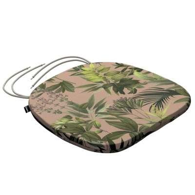 Siedzisko Bartek na krzesło 143-71 zielona roślinność na brudnoróżowym tle Kolekcja Tropical Island