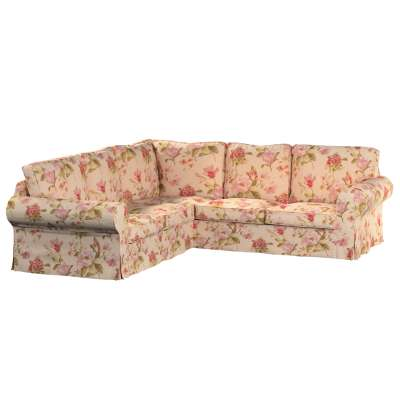 Ektorp corner sofa cover 123-05 large red, pink and orange flowers, ivory backround Collection Londres